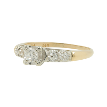 Ladies Estate 14K Yellow Gold Old Mine-Cut Diamond Engagement Ring - 0.48CTW