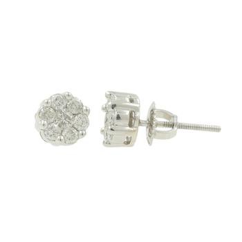Ladies Modern 14K White Gold Diamond Rosita Cluster Floral Earrings - 0.74CTW