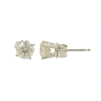 Ladies Classic Estate 14K White Gold Diamond Solitaire Stud Earrings - 1.00CTW
