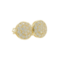 Ladies Vintage Estate 14K Yellow Gold Round Cubic Zirconia Circle Stud Earrings