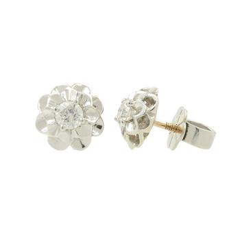 Ladies Vintage Estate 14K White Gold Diamond Flower Floral Stud Earrings - 0.40CTW