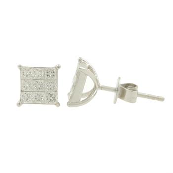 Ladies Estate 14K White Gold Princess-Cut Diamond Square Stud Earrings - 1.08CTW