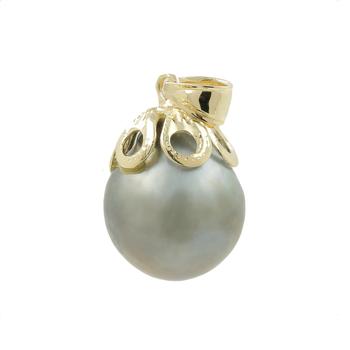 Ladies Vintage Classical Estate 14K Yellow Gold Tahitian Gray Pearl Pendant