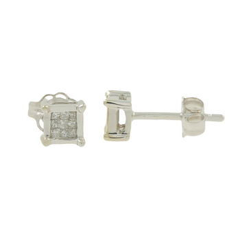 Ladies Vintage Estate 10K White Gold Princess-Cut Diamond Square Stud Earrings