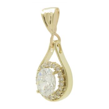 Ladies Estate 14K Yellow Gold Cubic Zirconia Gemstone & Diamond Halo Pendant