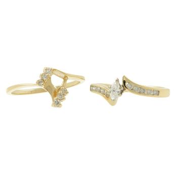 Ladies Estate 14K Yellow Gold Marquise-Cut Diamond Bypass Engagement Duo Ring Bridal Set