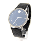Movado Stainless Steel Black Dial Leather Band 40mm Men's Watch - 39.1.14.1208