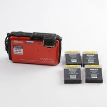 Nikon COOLPIX AW110 16.0 MP Digital Camera Kit w/ 4 Battery Packs & Carrying Bag - Orange
