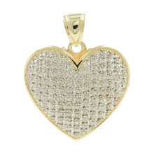 Ladies Classic Estate 10K White & Yellow Gold Heart-Shaped Charm Pendant - 1.5""