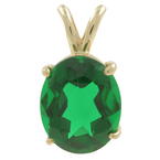 Ladies Vintage Estate 14K Yellow Gold Oval-Cut Green Glass Stone Charm Pendant