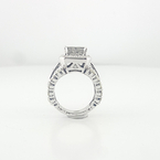 Princess-Cut 3.28 Carat Total Diamond Ladies Engagement Ring 14K White Gold