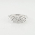 Ladies Estate 1 Carat Total Diamond Wave Cluster 14K White Gold Size 8 Ring