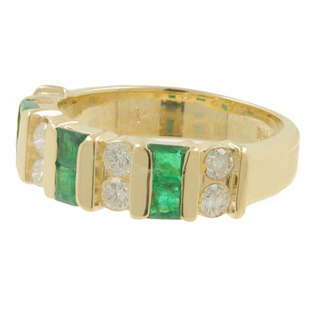 Ladies Estate 14K Yellow Gold White Sapphire & Green Glass Stone Band Ring