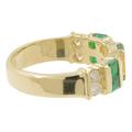 Ladies Estate 14K Yellow Gold White Sapphire & Green Glass Stone Band Ring