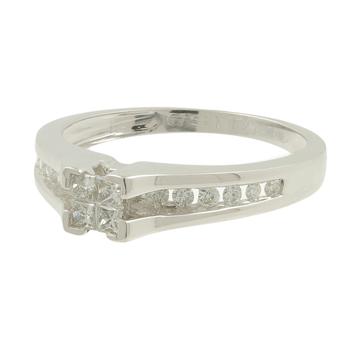 Ladies Estate 14K White Gold Princess-Cut Diamond Engagement Ring - 0.53CTW