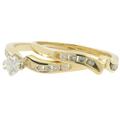Ladies Estate 14K Yellow Gold Diamond Bypass Engagement Ring & Wedding Band Set