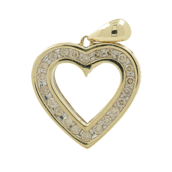 Ladies Vintage 10K Yellow Gold Champagne Diamond Heart-Shaped Charm Pendant