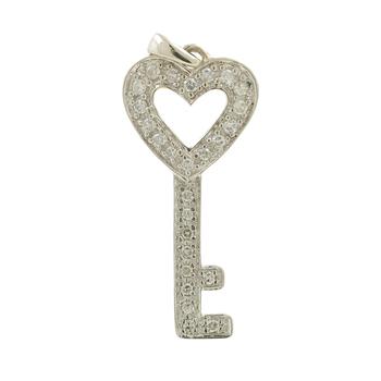 Ladies Vintage Estate 10K White Gold Diamond Key-Shaped Heart Charm Pendant