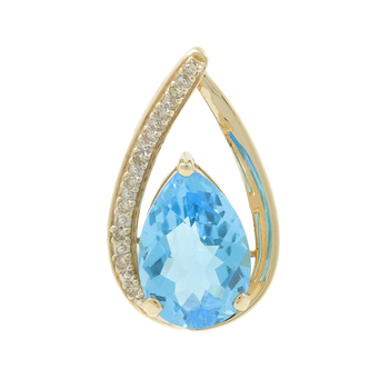 Ladies Estate 10K Yellow Gold Pear-Shaped Blue Topaz & Diamond Teardrop Pendant