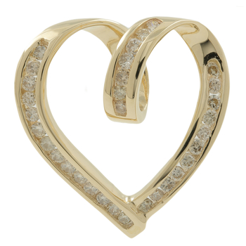 Ladies Vintage Estate 10K Yellow Gold Diamond Heart-Shaped Pendant - 0.64CTW
