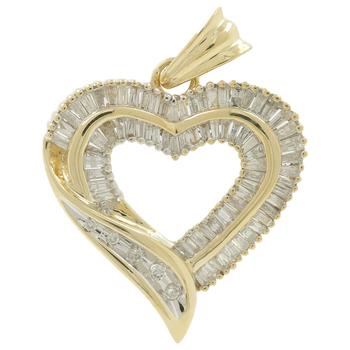 Ladies Estate 14K Yellow Gold Round & Baguette Diamond Heart Pendant - 1.97CTW