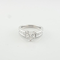 Amazing Rare 0.62 Heart Shaped Ladies Diamond Engagement Ring In 14K White Gold