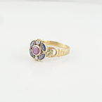 Ladies Gorgeous Estate 18K Yellow Gold Ruby Sapphire Diamond Flower Peddle Ring