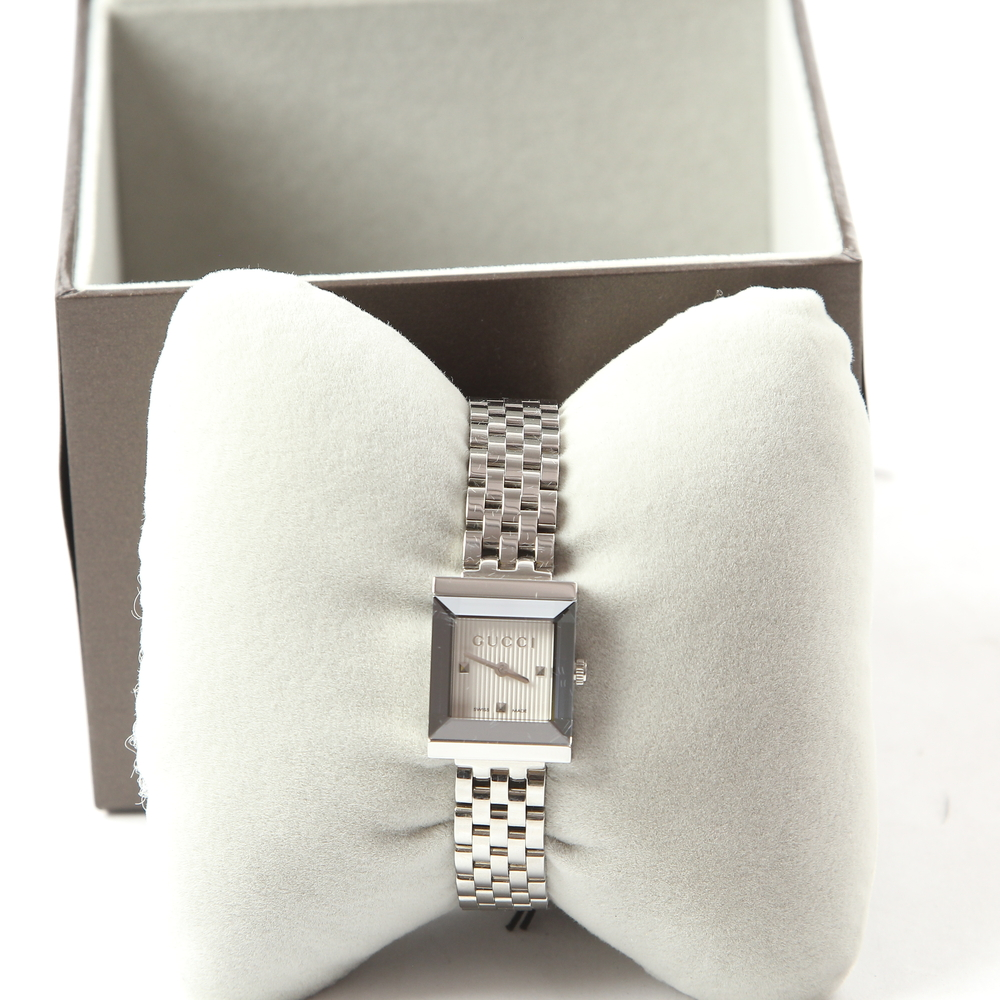 42d1cc69418 Ladies Gucci G-Frame Square Silver Dial Stainless Steel Watch - YA128402
