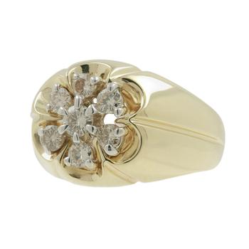 Men's Vintage Estate 14K Yellow Gold Diamond Cluster Signet Ring - 0.75CTW