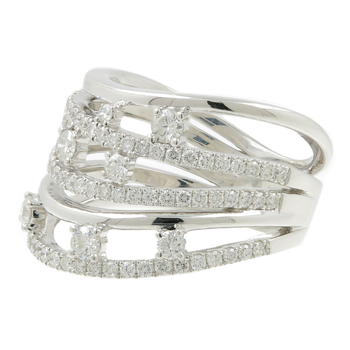 Ladies Modern 18K White Gold Round Diamond Swirl Bypass Ring - 1.50CTW