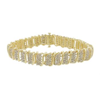 Ladies Vintage Classic Estate 10K Yellow Gold Diamond Link Bracelet - 7.00CTW
