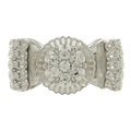 Ladies Vintage Estate 14K White Gold Diamond Butter Cup Ring Band - 0.40CTW