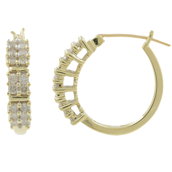 Ladies Classic Estate 10K Yellow Gold Round Diamond Hoop Earrings - 0.96CTW