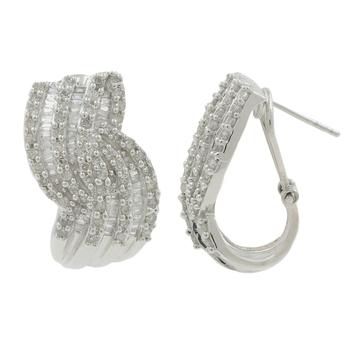 Ladies Modern 14K White Gold Round & Baguette-Cut Diamond Swirl Bypass Earrings