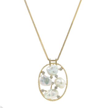 Ladies Estate 14K Yellow Gold Baroque Pearl & Diamond Oval-Shaped Pendant & Necklace