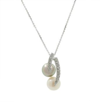 Ladies Estate 14K White Gold Pearl & Diamond Charm Pendant & Chain Necklace