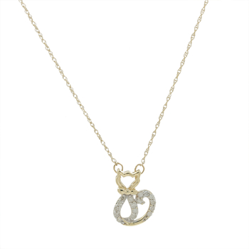 Ladies Estate 10K Yellow Gold Diamond Cat-Shaped Feline Charm Pendant Necklace