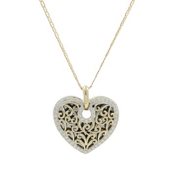 Ladies Estate 14K Yellow Gold Diamond Heart-Shaped Charm Pendant & Chain Necklace