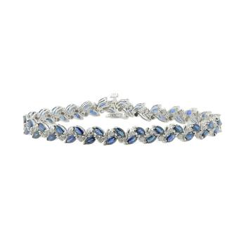 Ladies Vintage Estate 14K White Gold Diamond & Blue Sapphire Gemstone Bracelet