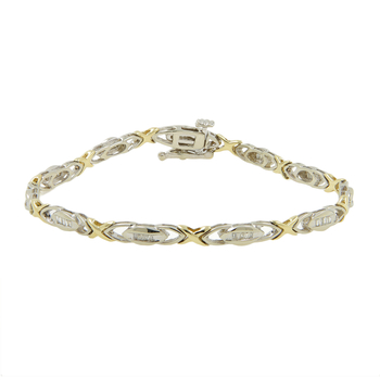 "Ladies Estate 10K Yellow & White Gold Diamond ""X"" Link Design Bracelet - 0.55CTW"