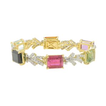 Ladies Estate 18K Yellow Gold & Platinum Multi-Color Gemstone & Diamond Bracelet