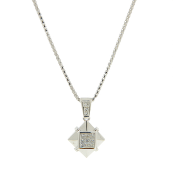 Ladies Estate 18K White Gold Princess-Cut Diamond Square-Shaped Pendant Necklace