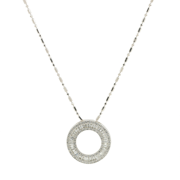 Ladies Estate EFFY 14K White Gold Diamond Eternity Circle Pendant - 2.57CTW