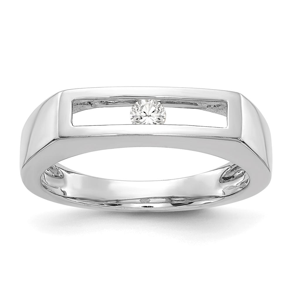 Ladies Modern 14K White Gold Round-Cut Diamond Open Heart Design Band Ring