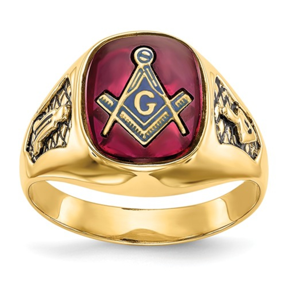 8b99c2c61fb30 Men's 14K Yellow Gold Red Ruby Letter