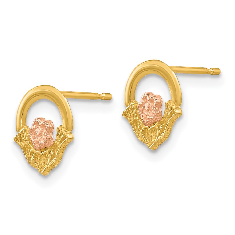 14k Yellow Gold Claddagh Post Earrings Stud-earrings Earrings