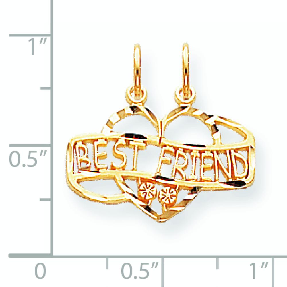 20mm x 22mm Mia Diamonds 10k Yellow Gold Best Friend Break Apart Charm