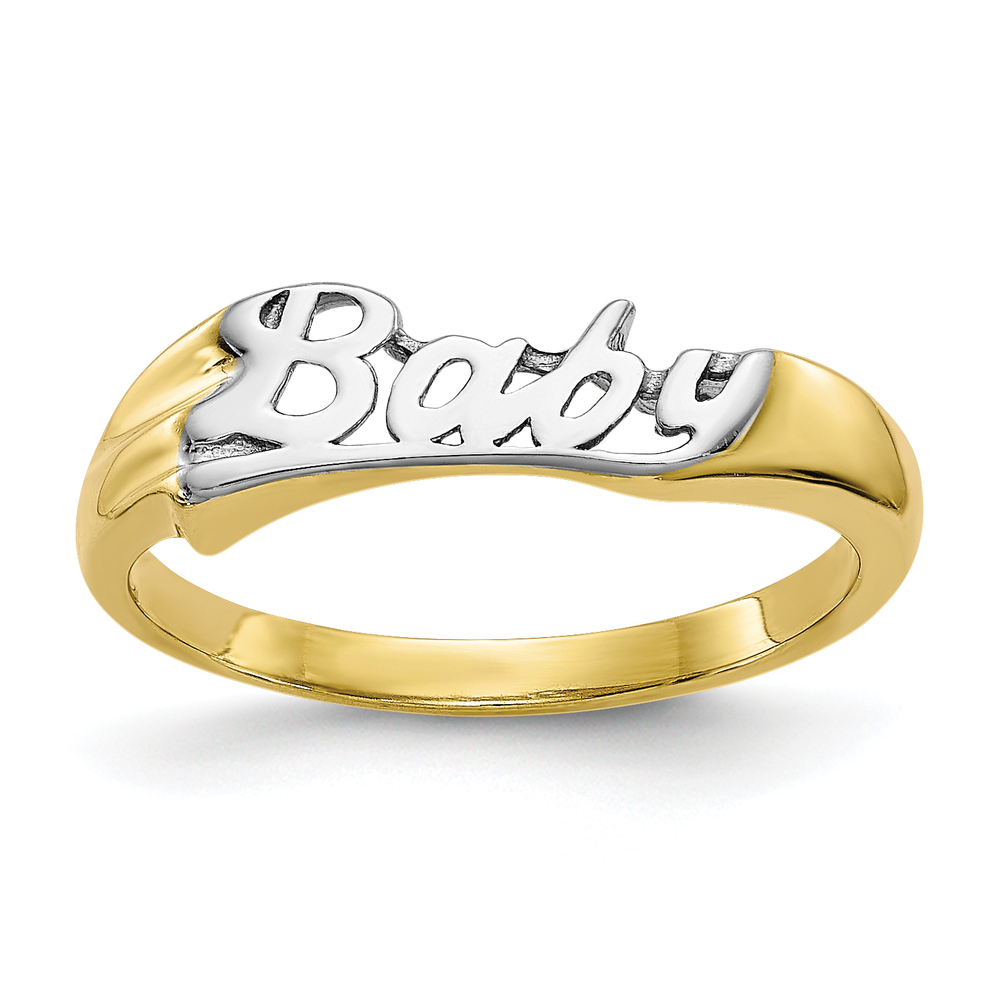 Ladies Children S 10k Yellow Gold White Rhodium Baby Writing Daughter Ring Online Pawn Shop Out Of Pawn