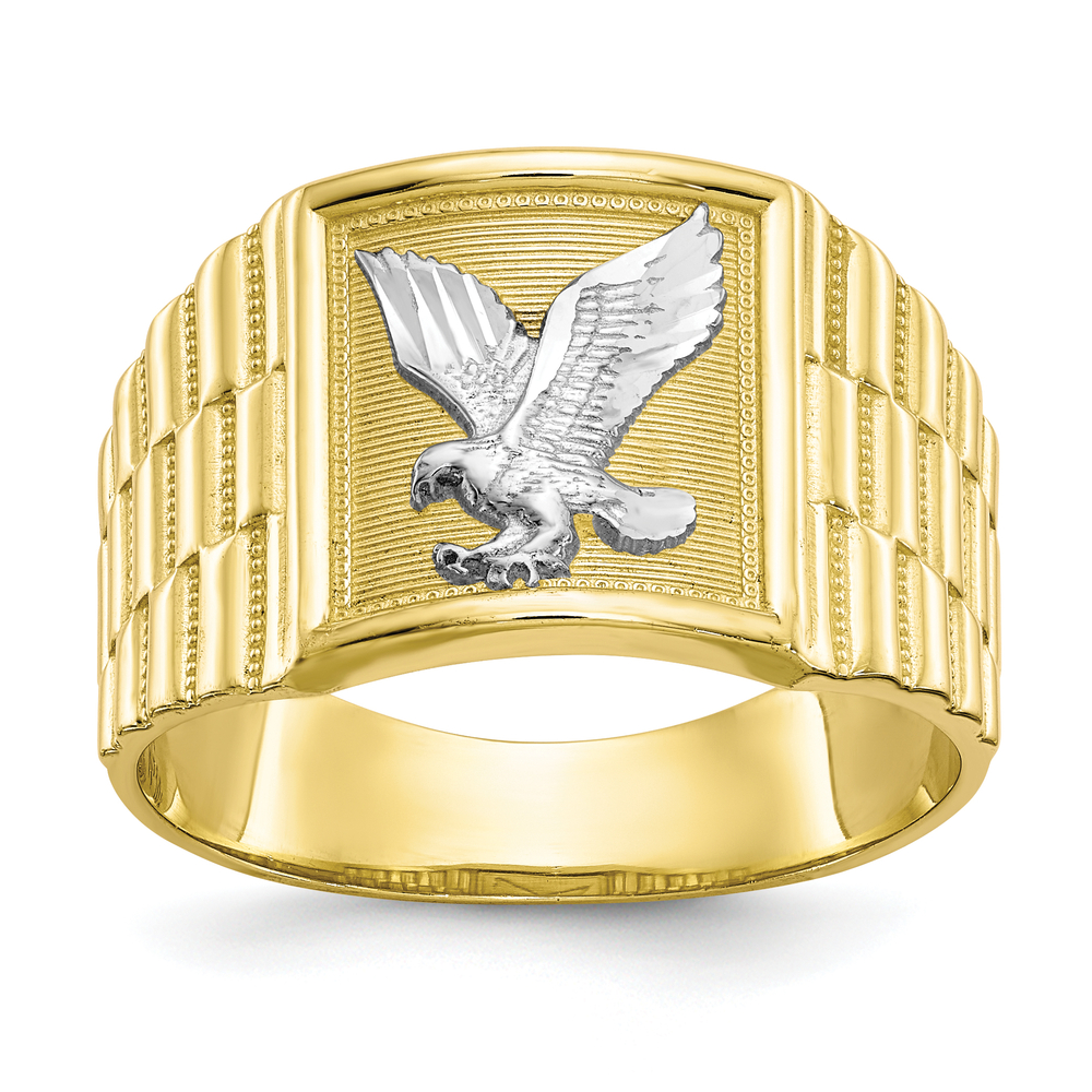 Men S 10k Yellow Gold American Eagle Animal Bird Usa Chunky Signet Ring Online Pawn Shop Out Of Pawn