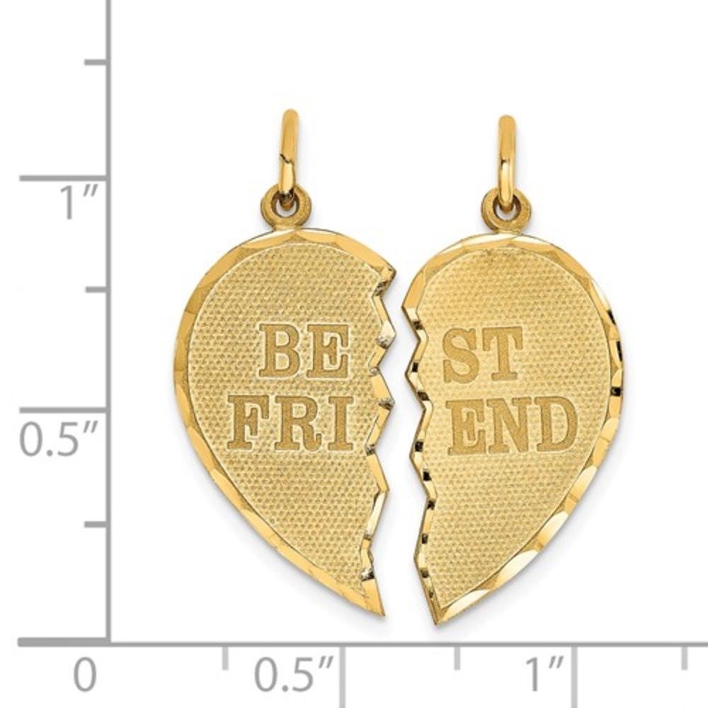 14k Best Friends Heart Break Apart Pendants